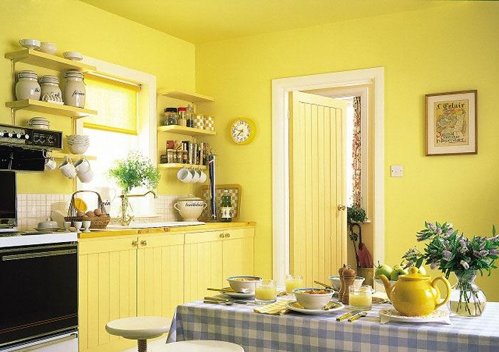 Отделка стен на кухне краской
