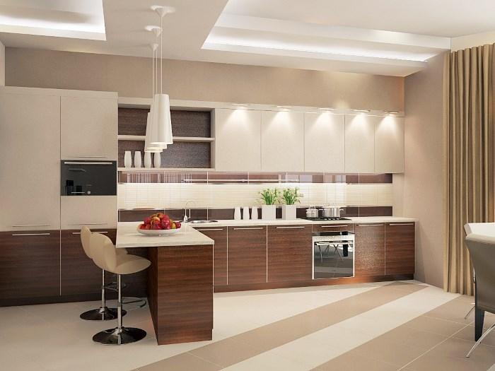 Оттенки бежевого в интерьере кухни