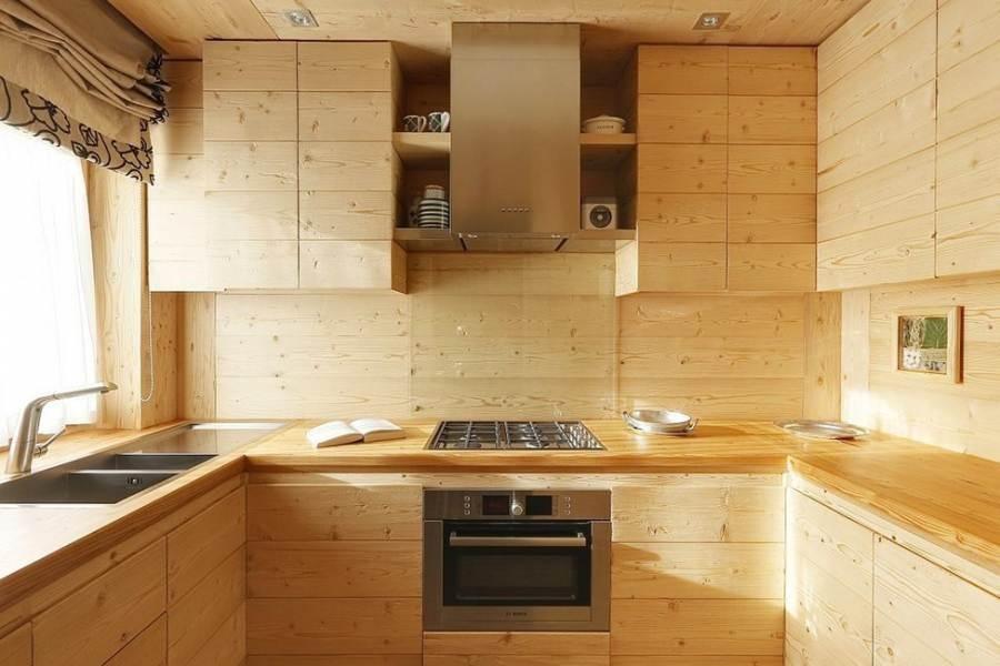 отделка кухни деревянной вагонкой
